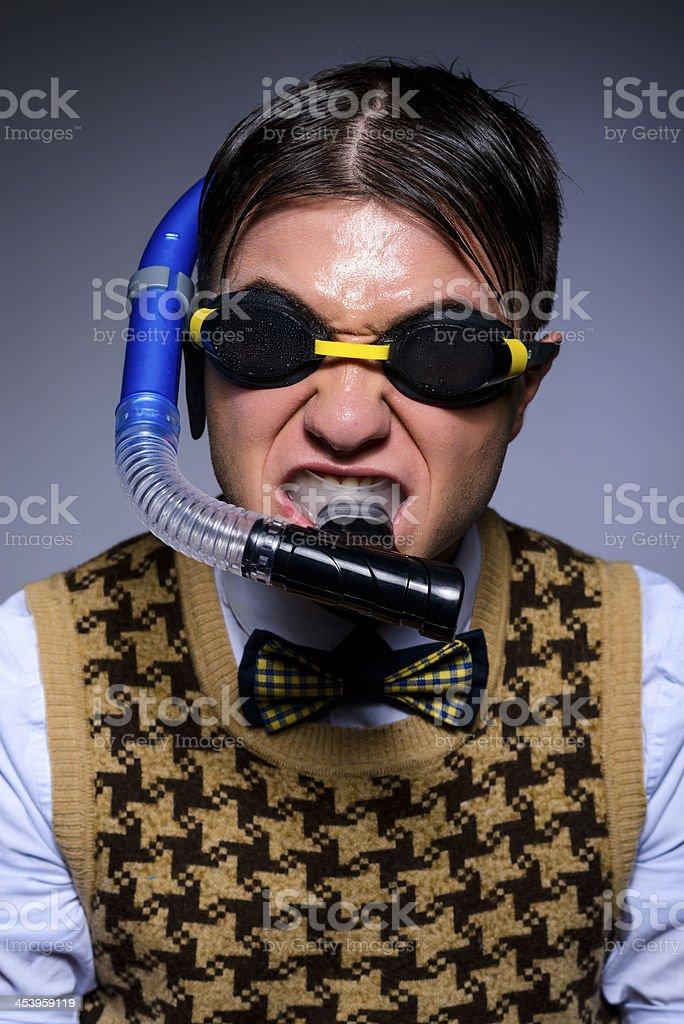 nerd with swimming equipment stock photo