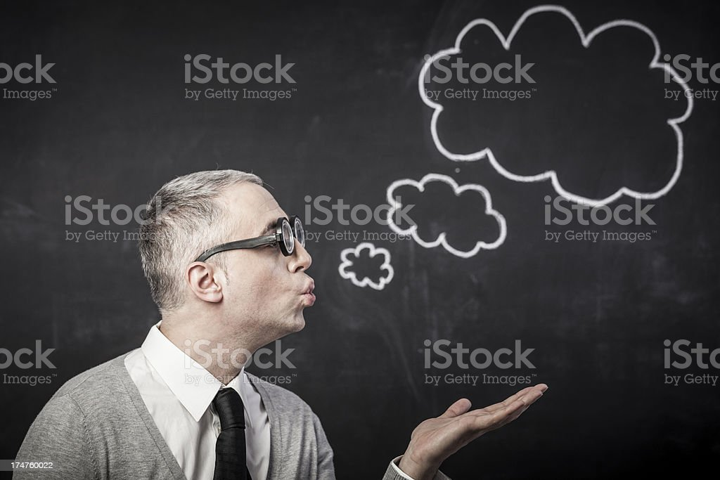 Nerd with thought bubble royalty-free stock photo