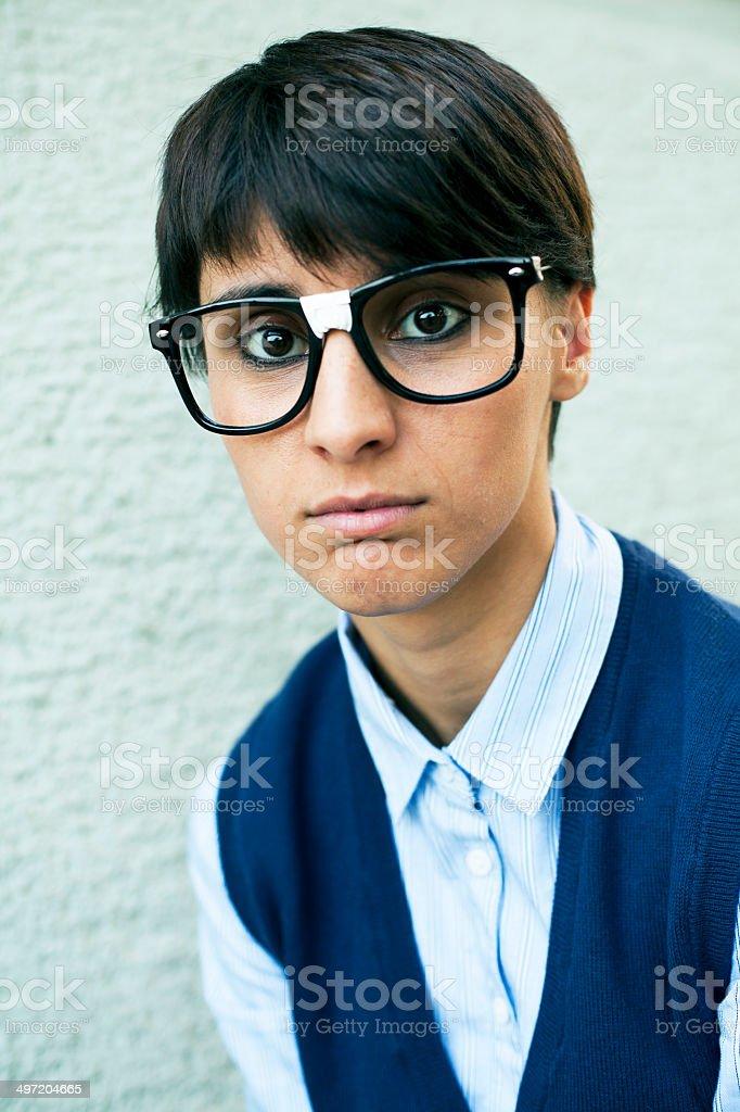 Nerd Woman Portrait stock photo