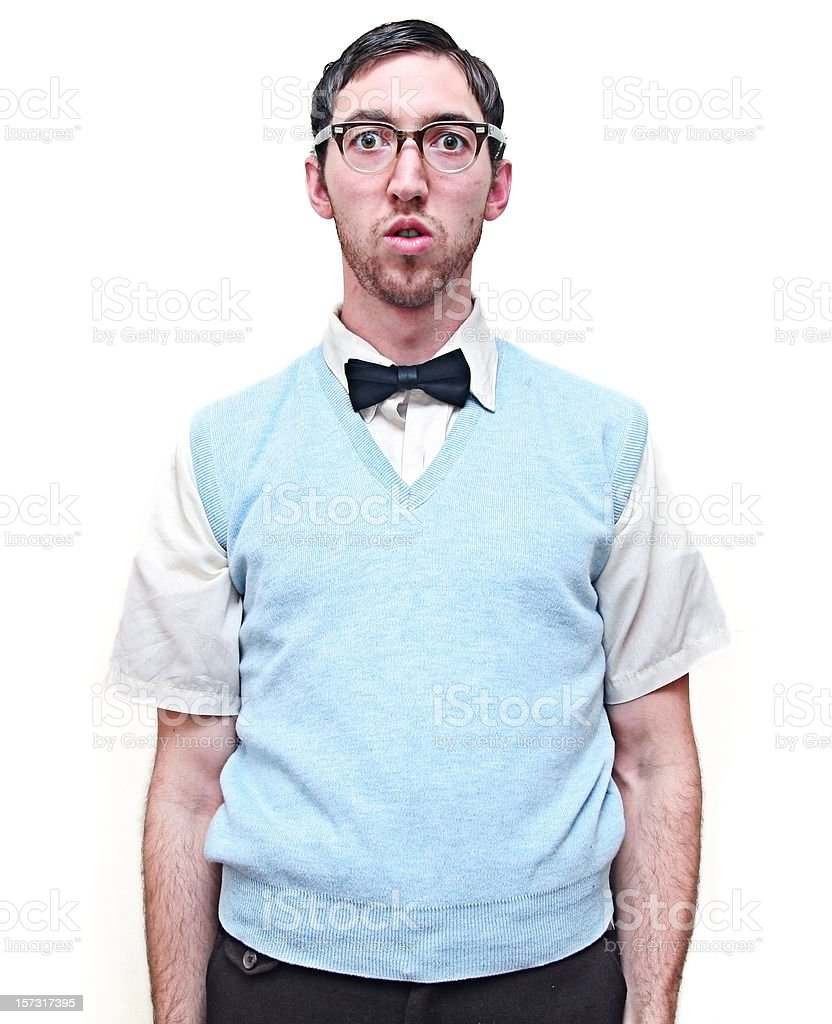 Nerd Young Man Isolated on White stock photo