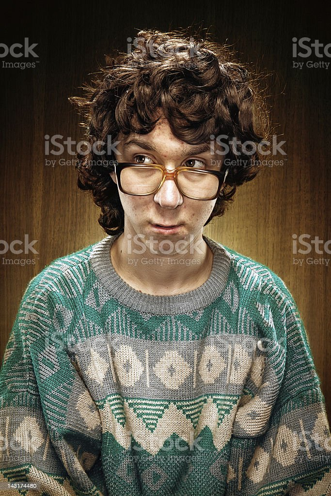 Nerd Young Man Looking Shy stock photo