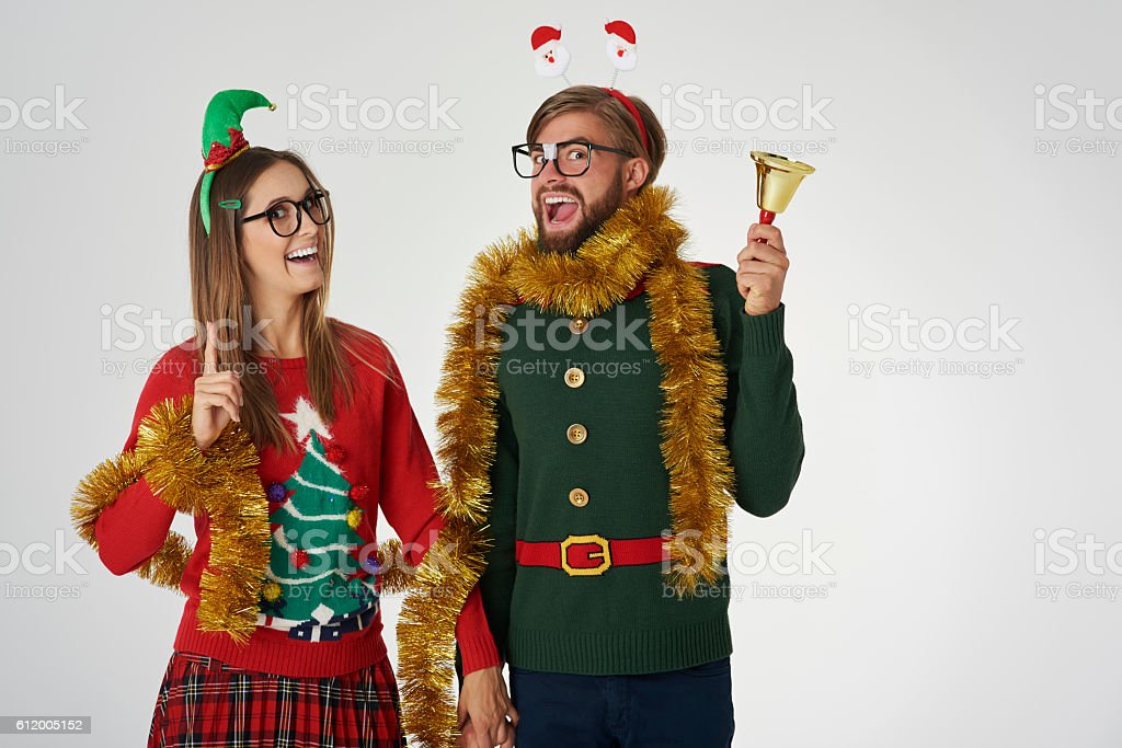 Nerds with golden chain on gray background stock photo