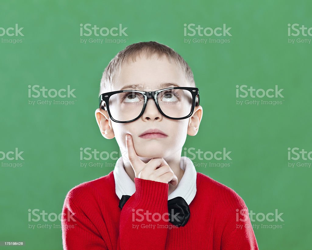 Nerdy Boy looking up stock photo
