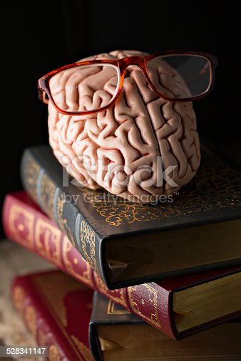 An extreme close up vertical  photograph of a replica of a human brain wearing eye glasses and sitting on a stack of fine literature books.