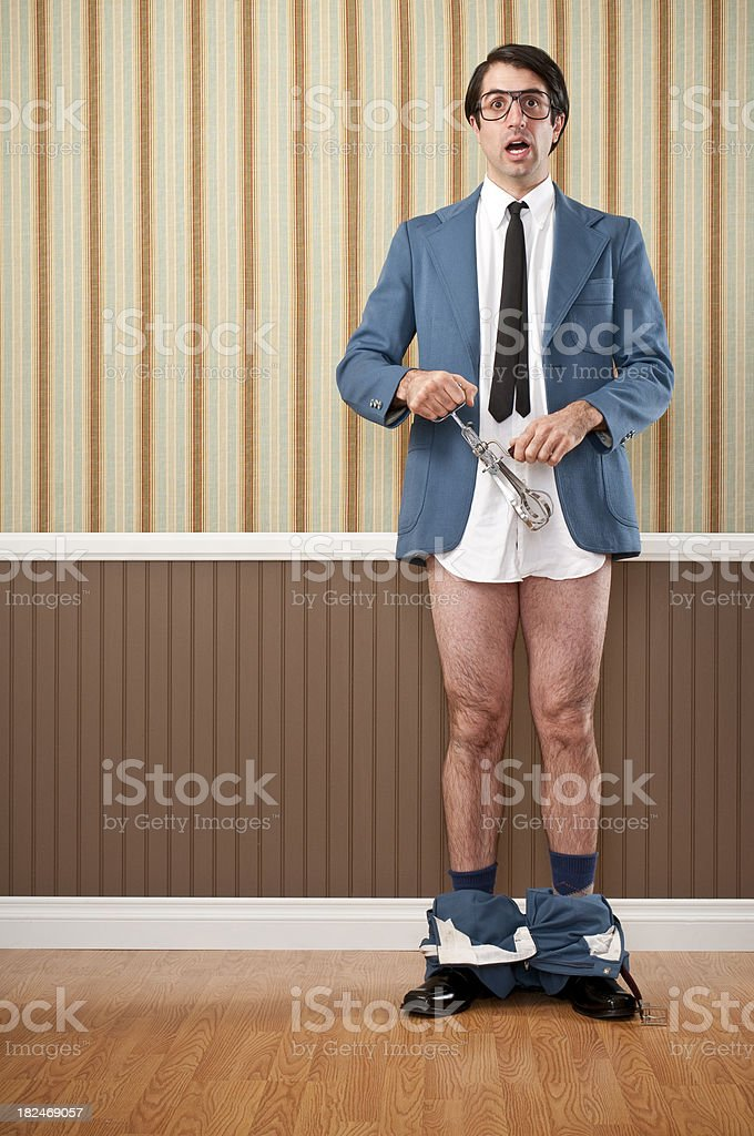 Nerdy Businessman Caught With His Pants Down royalty-free stock photo