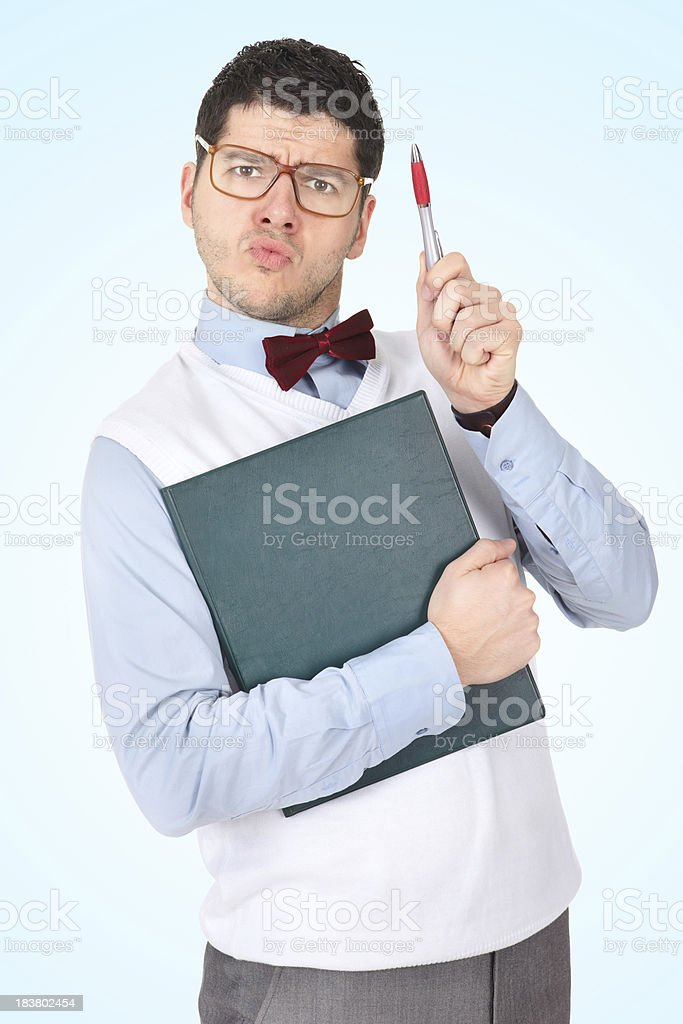 Nerdy businessman gesturing royalty-free stock photo