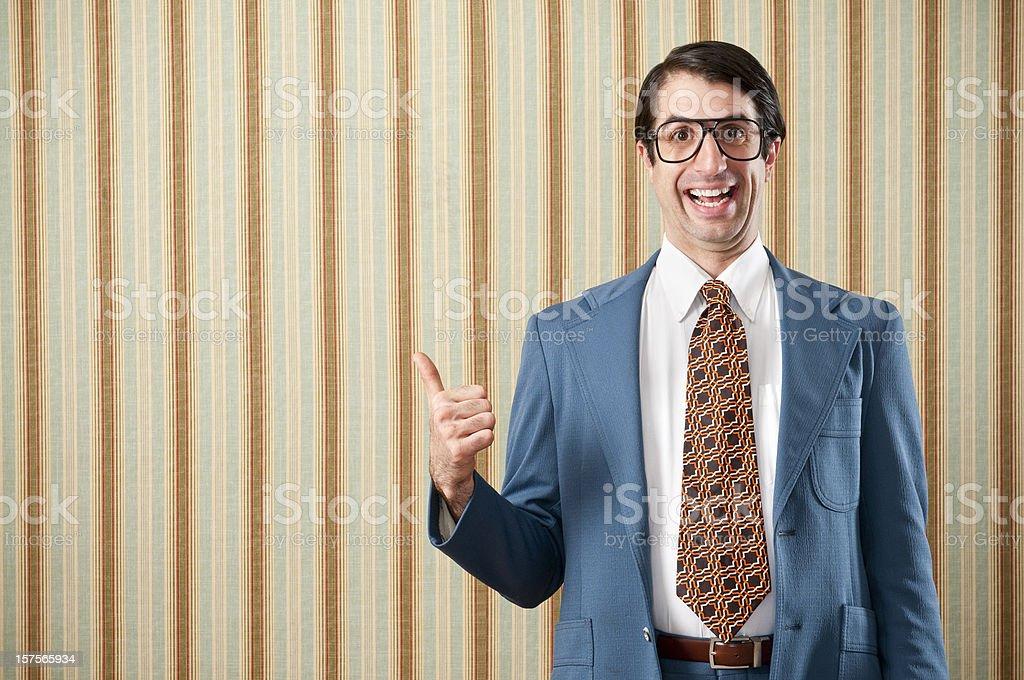 Nerdy Businessman In Retro Suit stock photo