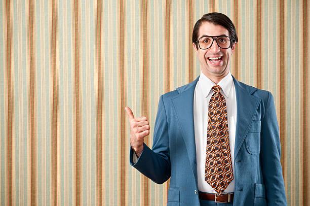 nerdy ビジネスマンにレトロなスーツ - オタク ストックフォトと画像