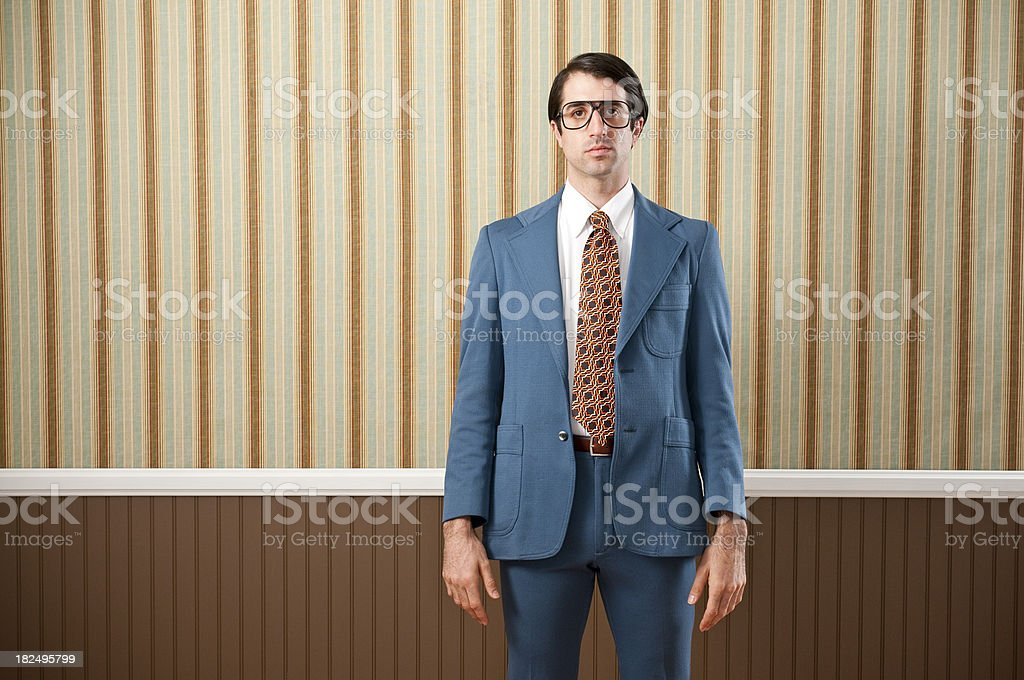 Nerdy Businessman In Retro Suit royalty-free stock photo