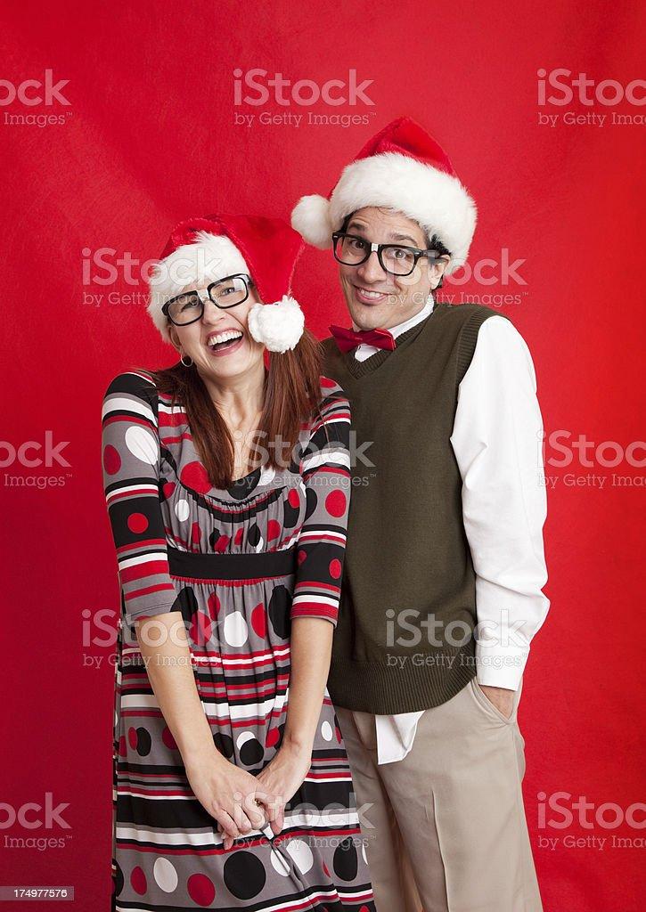 Nerdy Christmas Couple royalty-free stock photo
