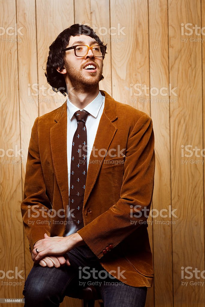 Nerdy College Professor 1970s Portrait Looking Away stock photo