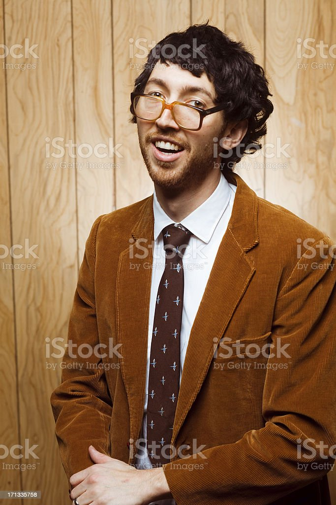 Nerdy College Professor 1970s Portrait With Glasses stock photo