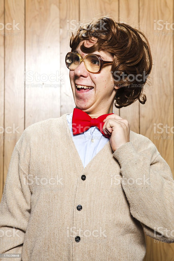 Nerdy College Student With Big Glasses and Bow Tie stock photo