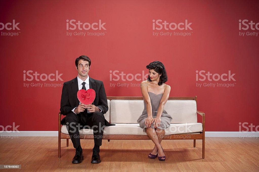 Nerdy Couple With Valentine's Chocolates royalty-free stock photo