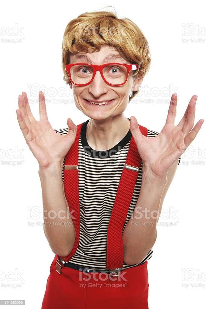Nerdy excitement royalty-free stock photo