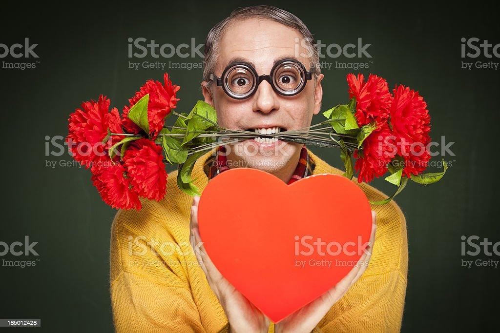 Nerdy guy crazy in love stock photo