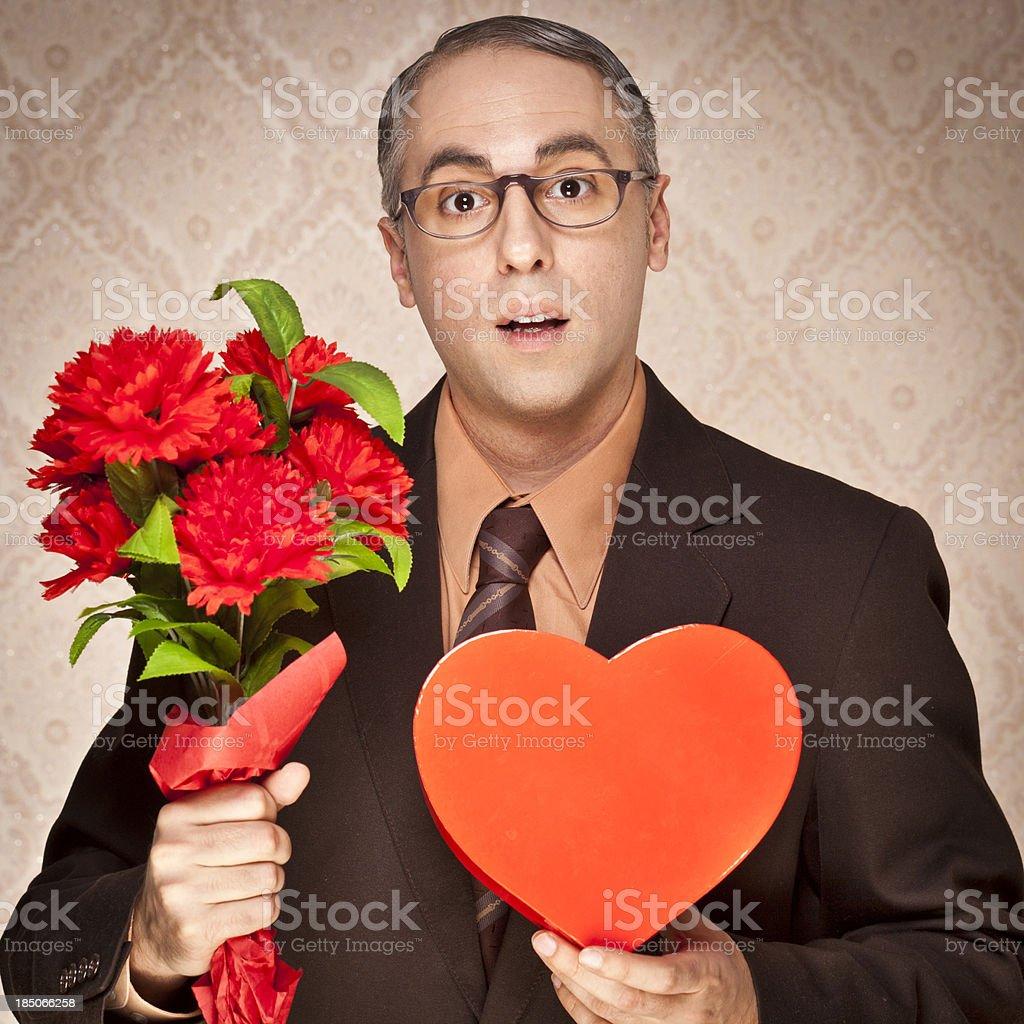 Nerdy guy in love stock photo