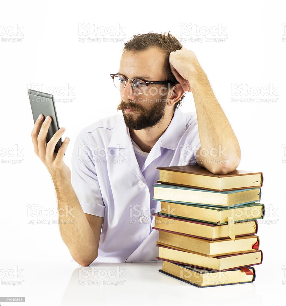 Nerdy Guy With Books royalty-free stock photo