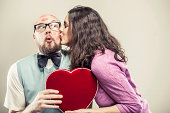 istock Nerdy Man being Kissed on Valentine's Day 174928538