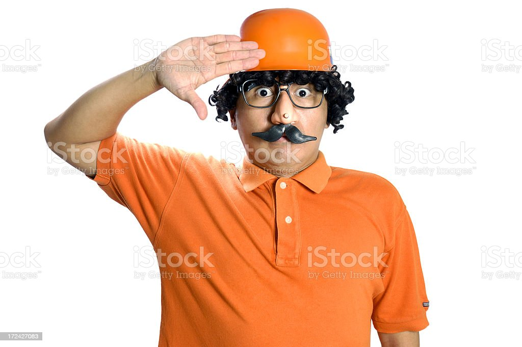 Nerdy Man Gives Salute royalty-free stock photo