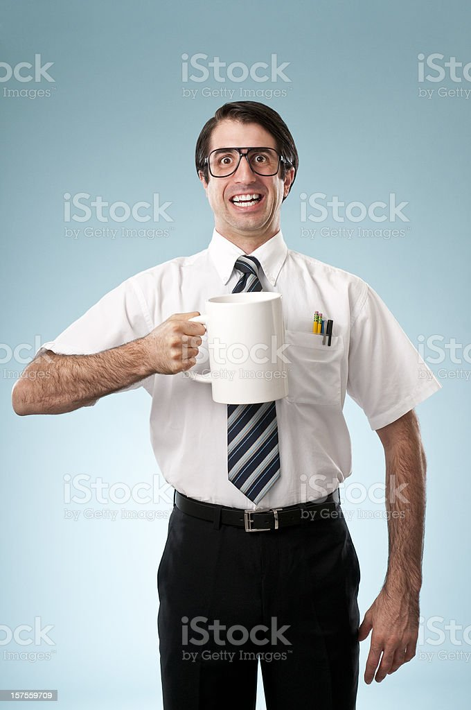 Nerdy Office Worker Drinking Coffee royalty-free stock photo