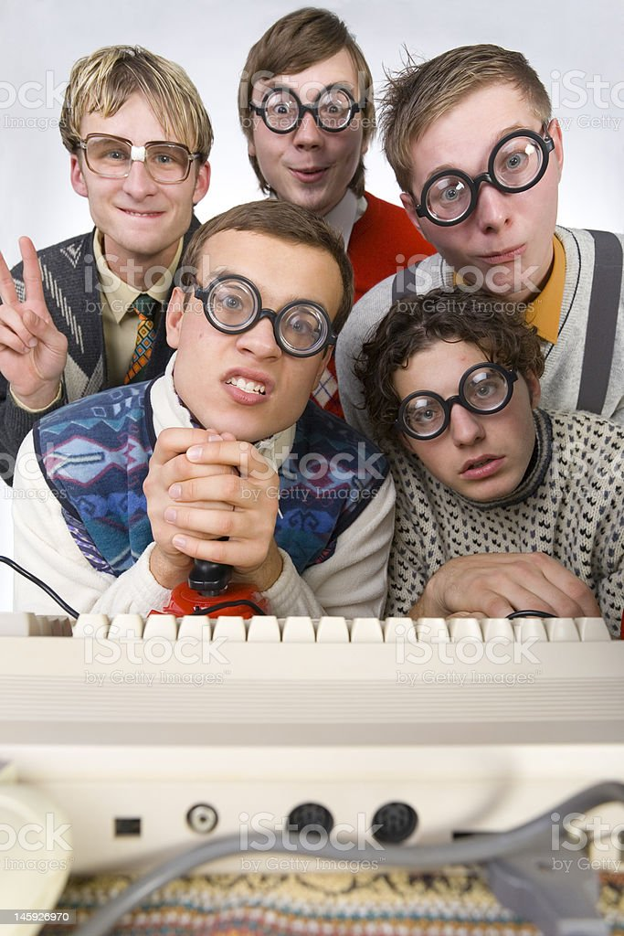 Nerdy pals stock photo