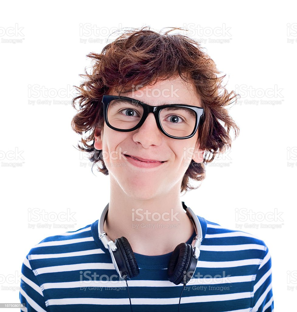 Nerdy Teenager Smiling, Studio Portrait stock photo