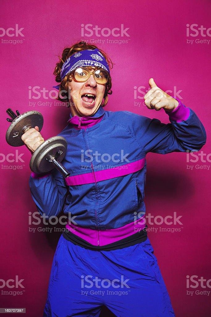 Nerdy workout dude stock photo