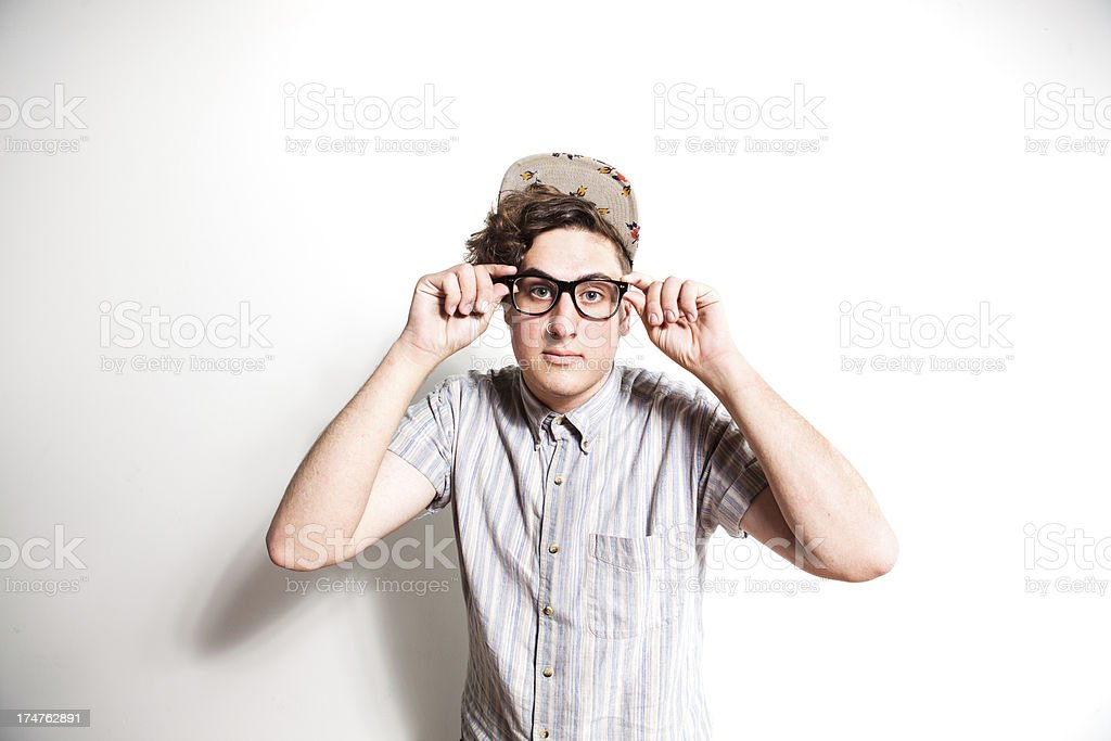 Nerdy Young Man Wearing Glasses royalty-free stock photo
