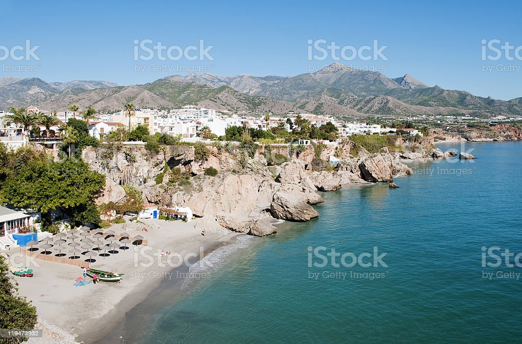 Nerja Coastline looking North stock photo