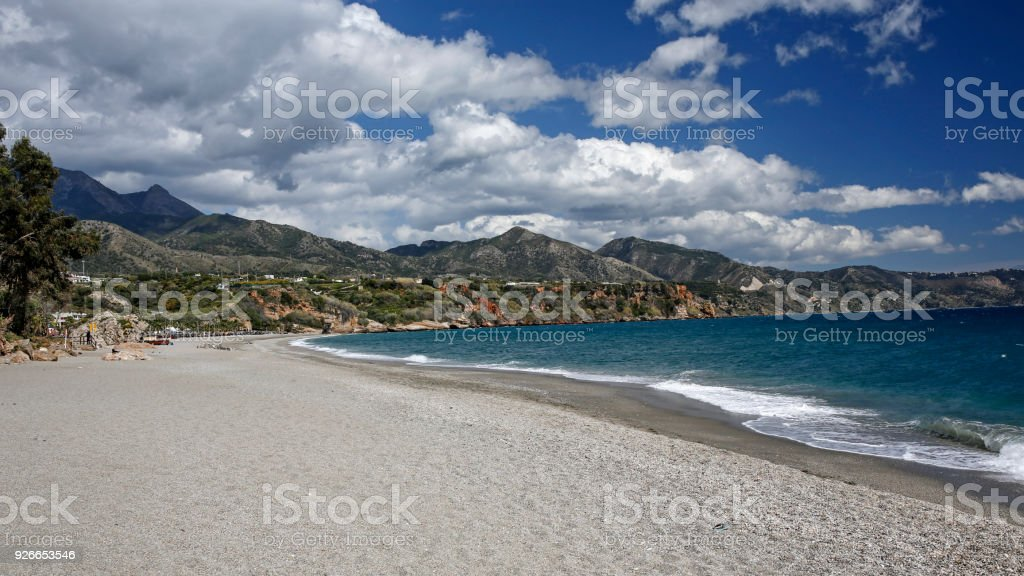Nerja famous resort on Costa del Sol, Malaga, Spain stock photo