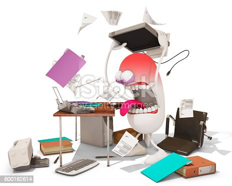 istock nervous breakdown at work, 3d rendering 600162614