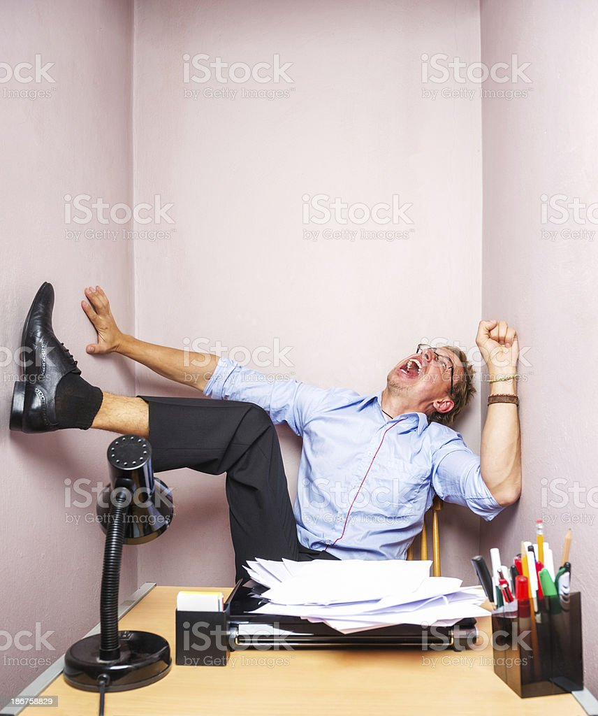 Nervous breakdown at work stock photo