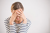 istock Nervous breakdown, isolated depressed woman 828563306