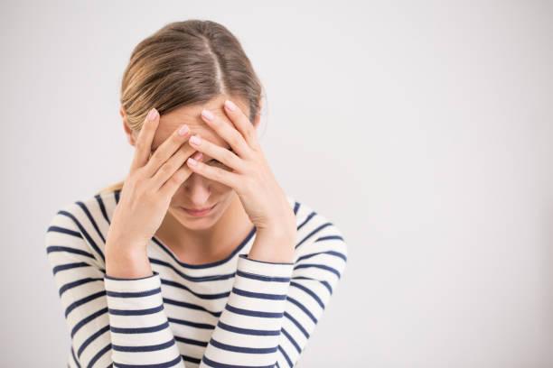 Nervous breakdown, isolated depressed woman stock photo