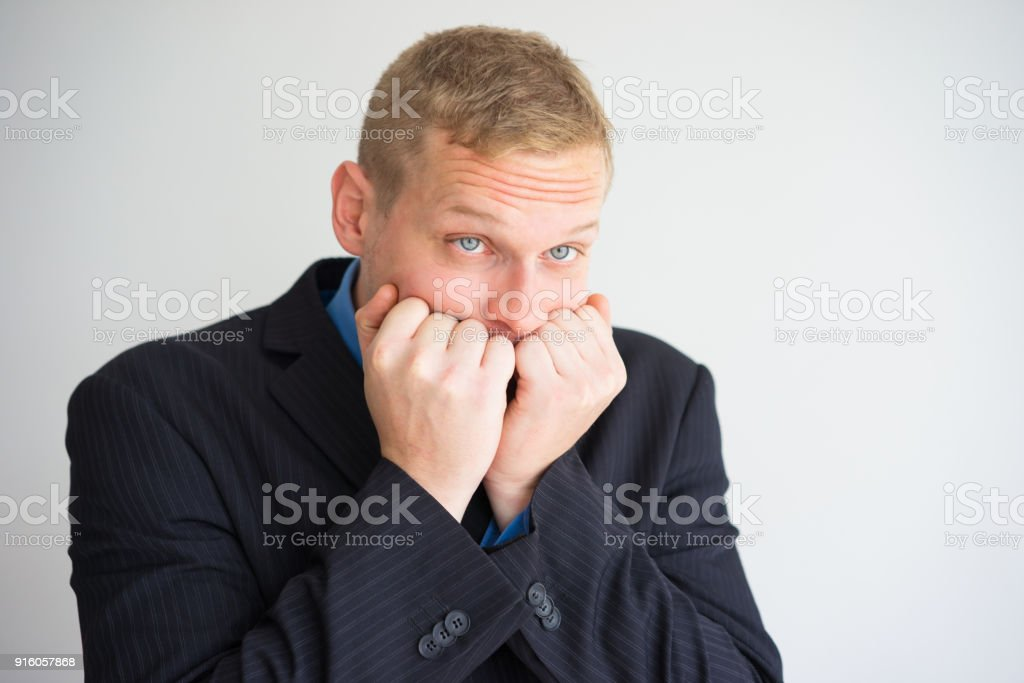 Nervous Business Man Freaking Out stock photo