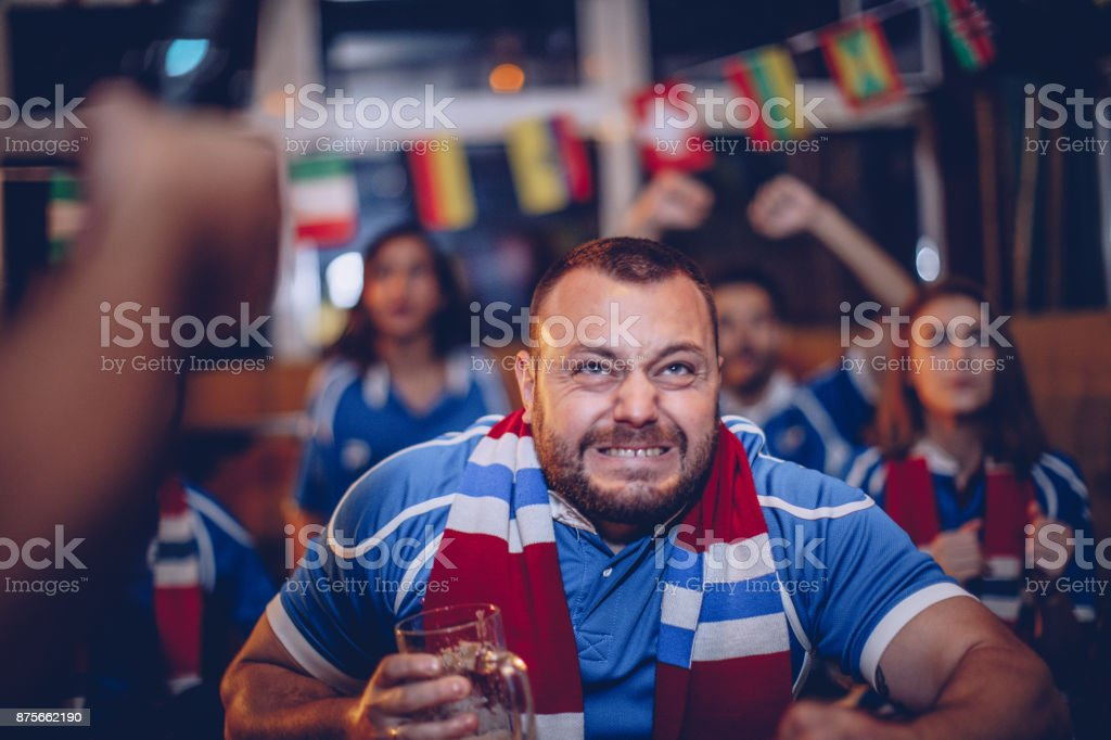 Nervous fan stock photo