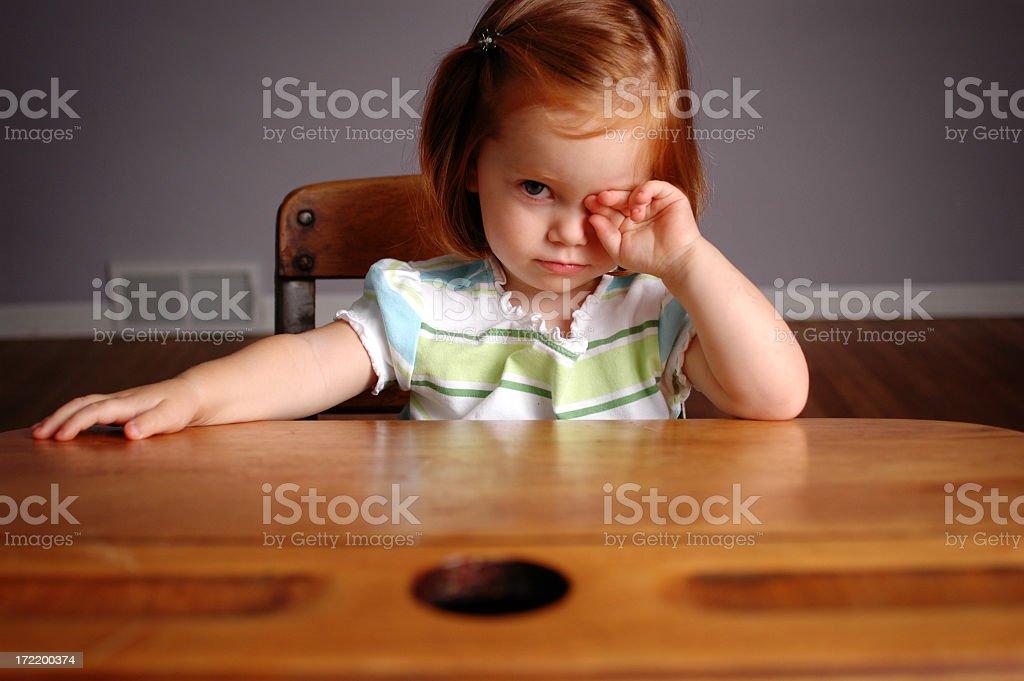 Nervous Little Girl Sitting in School Desk royalty-free stock photo