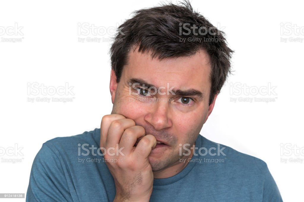 Nervous Man Biting His Nails Isolated On White Stock Photo & More ...