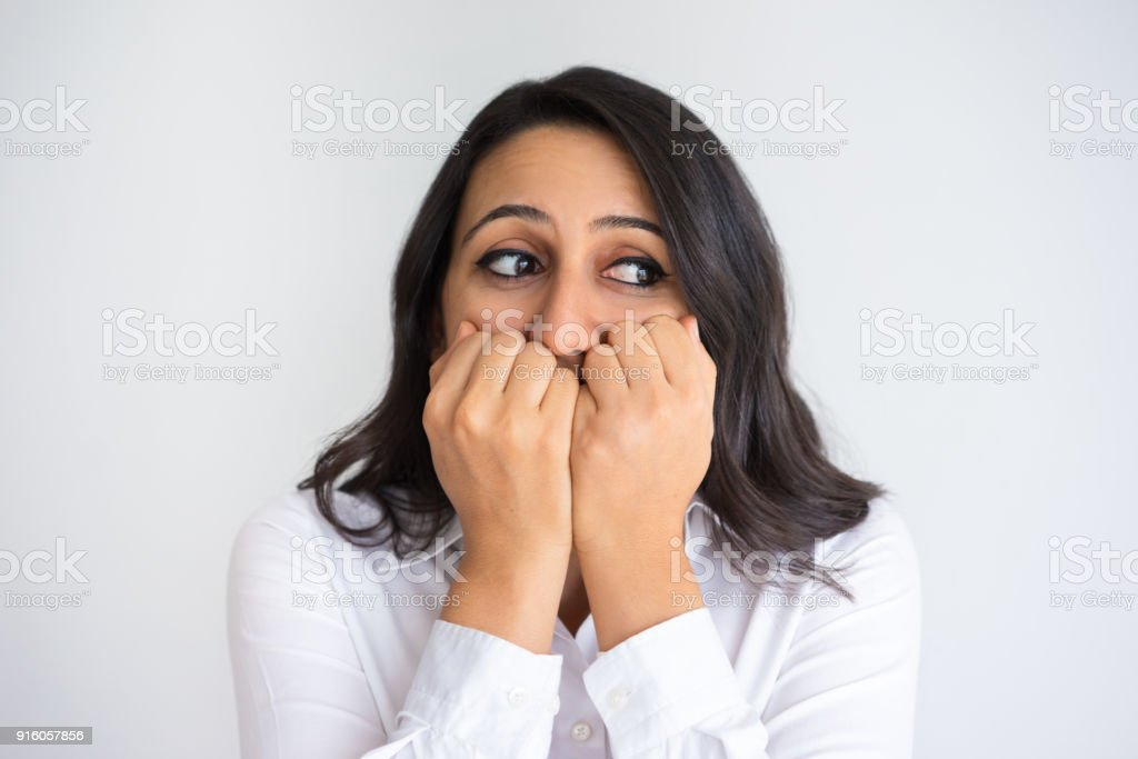 Nervous Middle-aged Woman Freaking Out stock photo