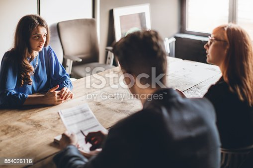 istock Nervous on job interview 854026116