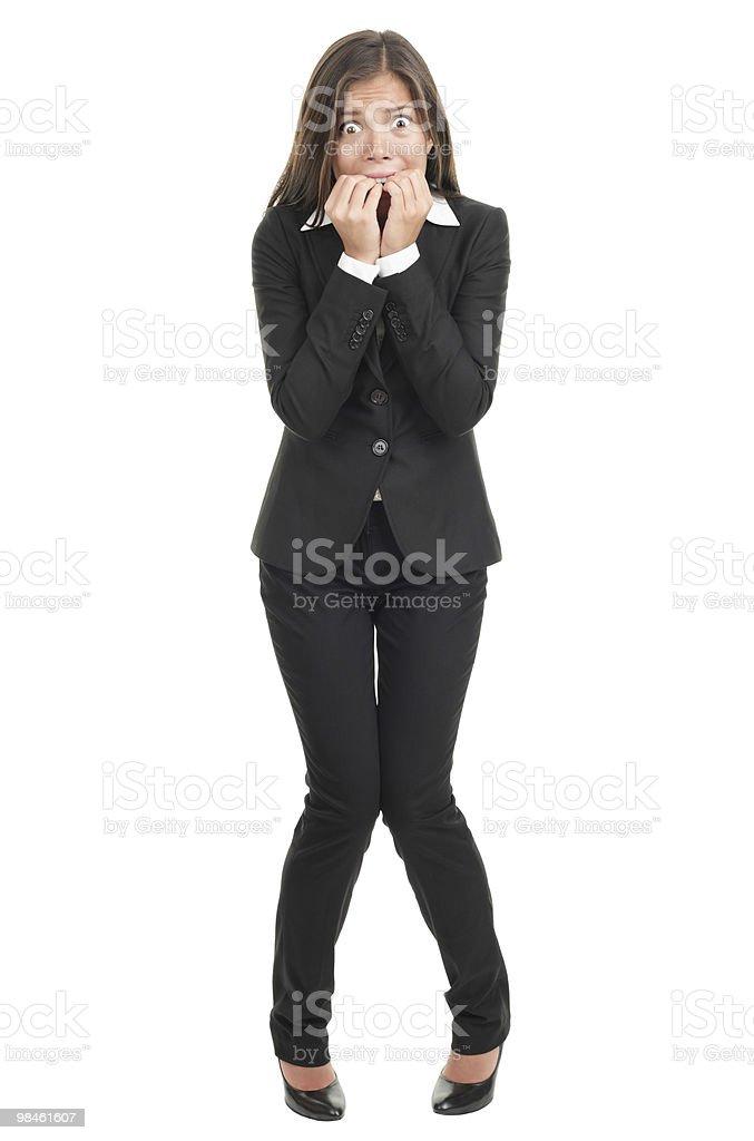 Nervous scared businesswoman stock photo
