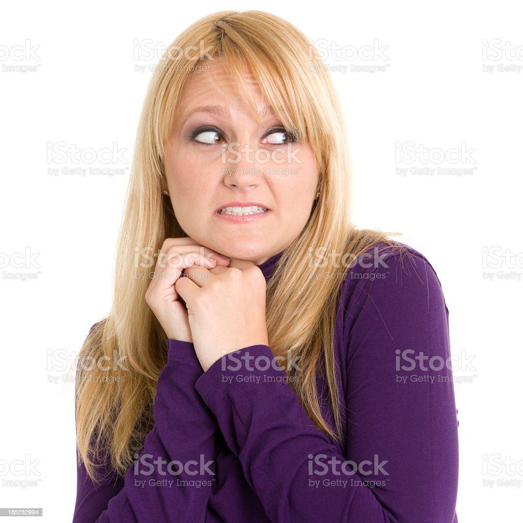 Nervous Woman Looking Sideways royalty-free stock photo