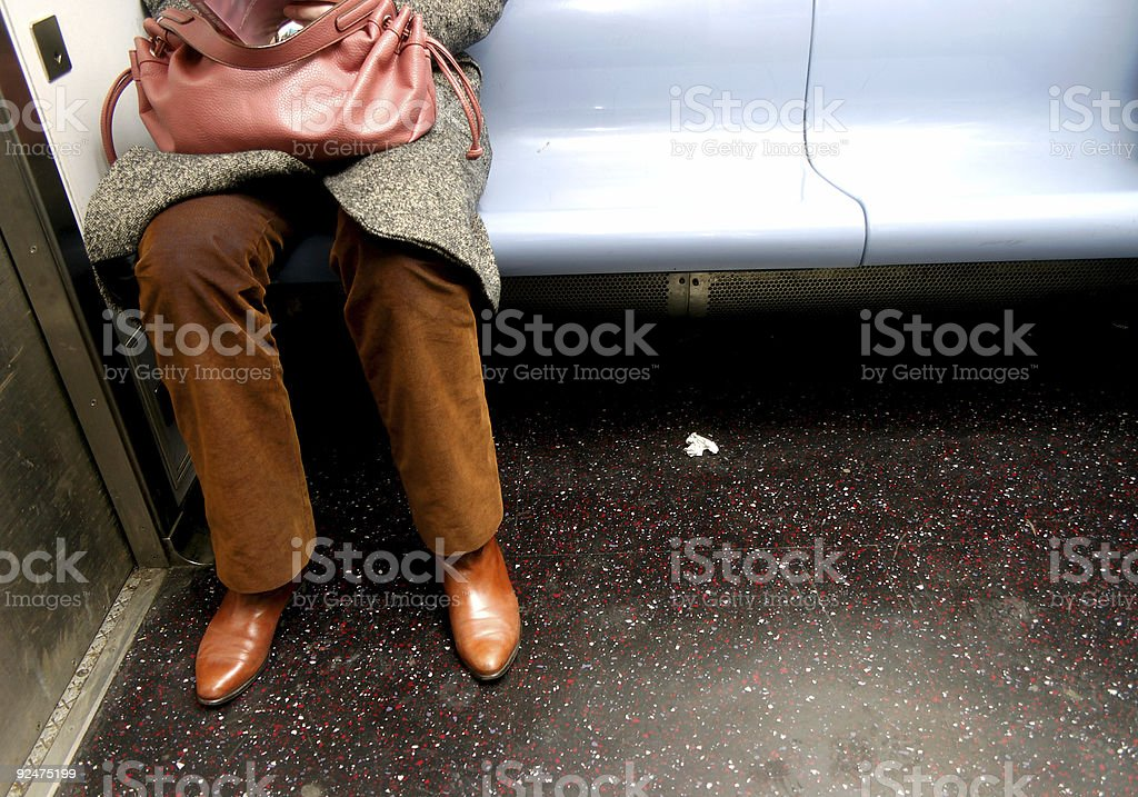 Nervous Woman Sitting by Herself - NY Subway royalty-free stock photo