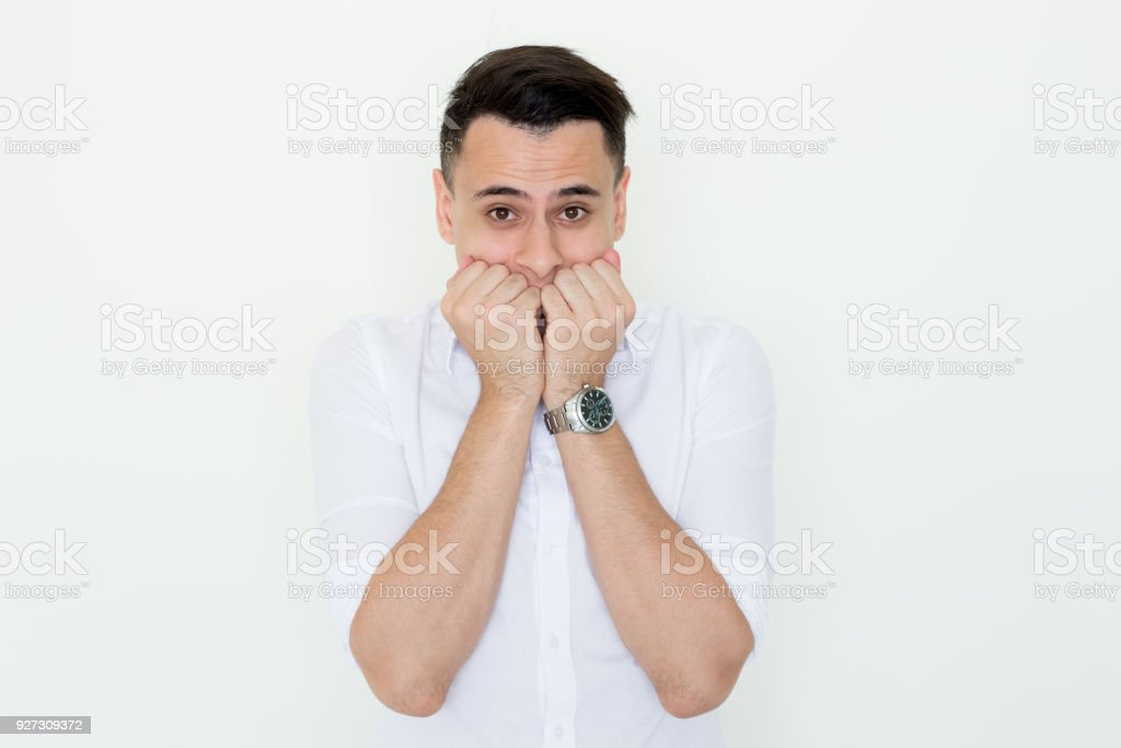 Nervous Young Business Man Freaking Out stock photo