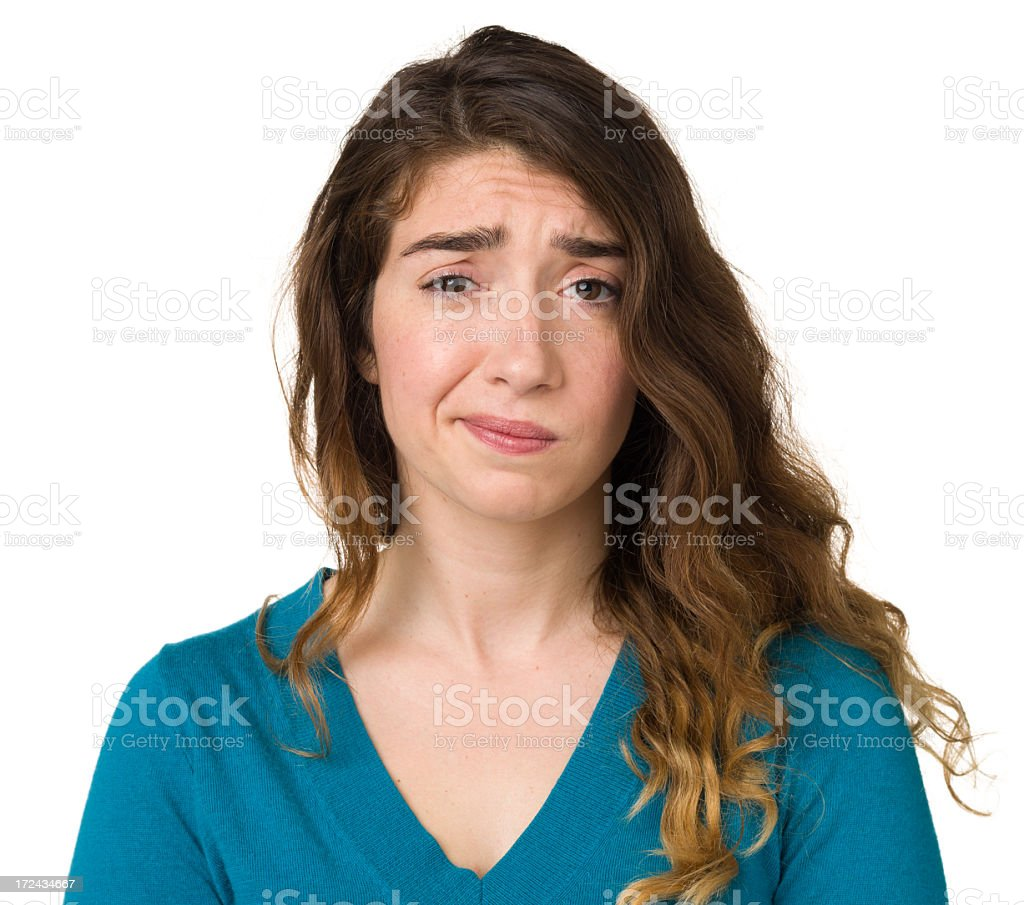 Nervous Young Woman stock photo