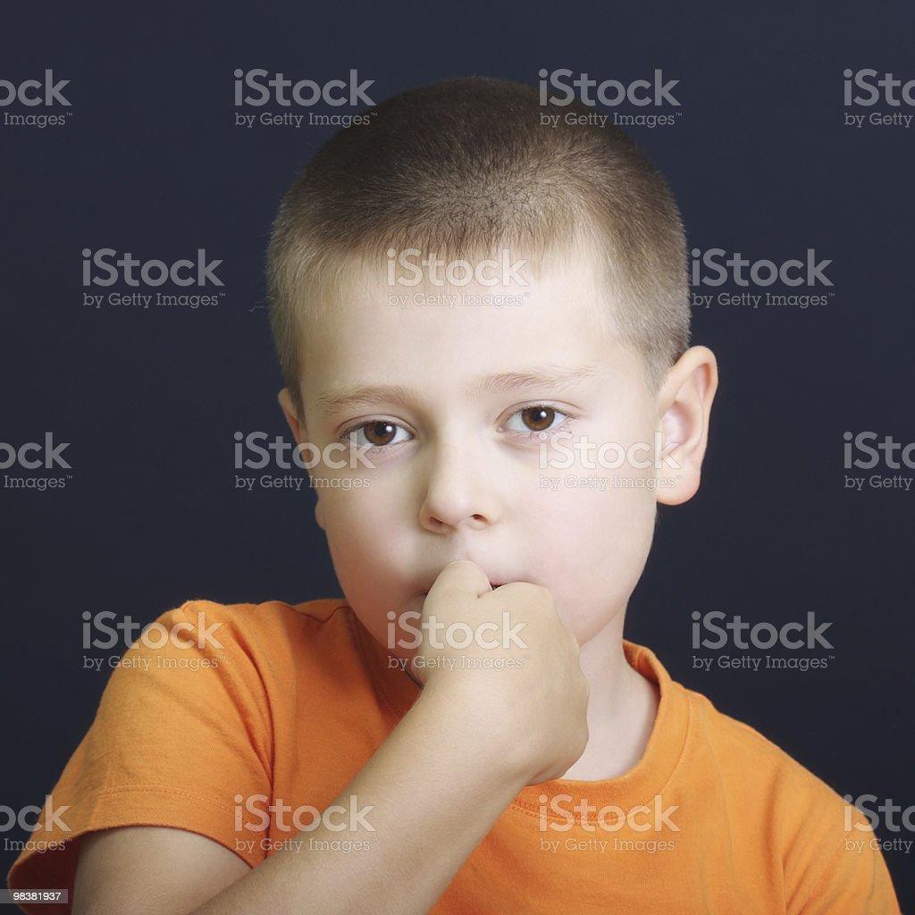 Nervously biting fingernails stock photo