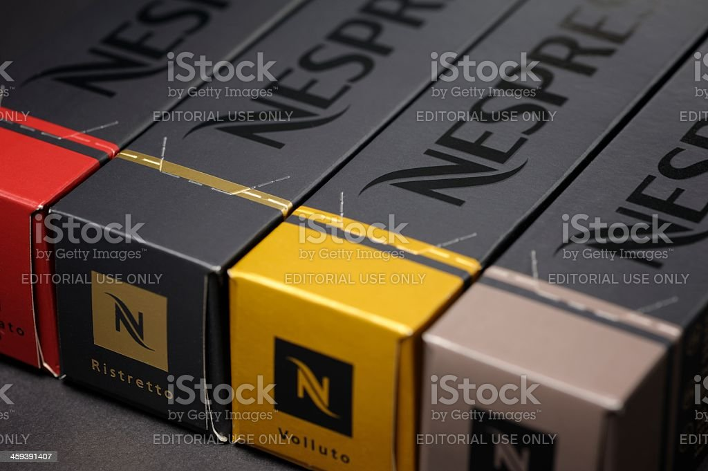 Nespresso Coffee Capsule Boxes stock photo