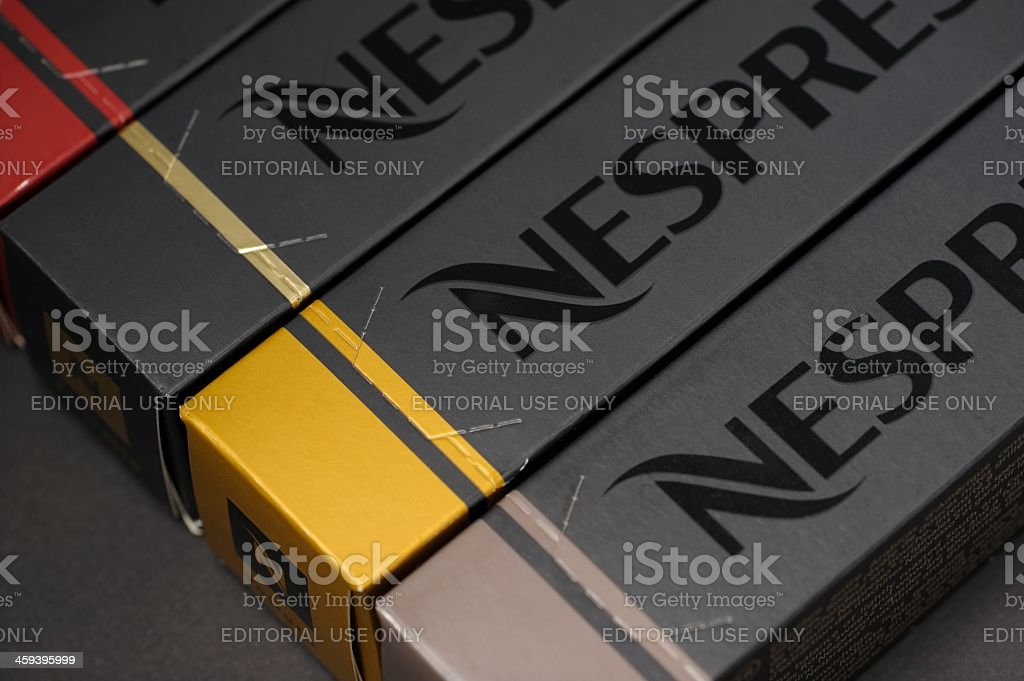 Nespresso Coffee Capsule Boxes royalty-free stock photo