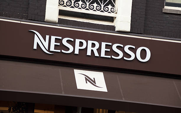 Nespresso logo on store front in Amsterdam stock photo